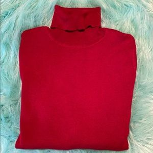 Chico's Sweaters - Chico's Red Knit Long Sleeve Turtleneck Sweater